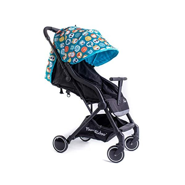 Famillidoo Air Stroller, Compact and Lightweight Pushchair, Suitable from Birth, Panda Blue Familidoo Lightweight only 5.2kg, super-compact buggy, including an easy to operate one-handed fold Detachable T-Bar for added safety and practicality. Good size 3-panel sun canopy Stylish aluminium frame with front and rear wheel suspension 1