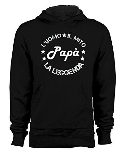 Felpa con cappuccio Festa del Papà L'uomo, il mito, la leggenda - papà - happy father's day - idea regalo Nero