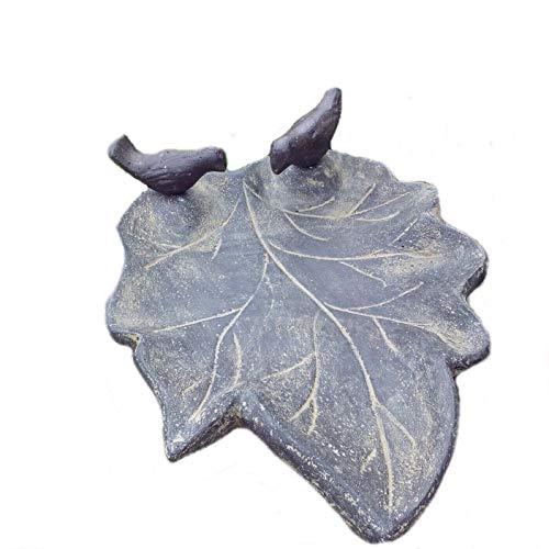 steinfiguren-neumann Vogeltränke Blatt mit 2 Vögel Wasserstelle VOGELBAD STEINGUSS NEU Frostsicher
