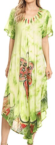 Sakkas 17256 - Nalani Womens Flowy Kaftan Tie Dye Sommerkleid Vertuschen Relax Fit - Grün - OS - Womens Tie Dye