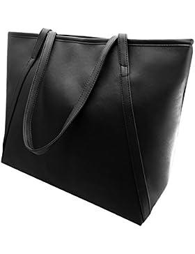 Damen-Handtasche aus Kunstleder Farbe Tasche Reißverschluss Big Fashion Schultertasche, Kunstleder, schwarz, 42cm...