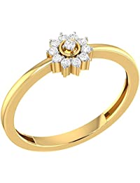 VIJISAN Real 10K Gold 0.12 CT Round Cut Natural Diamond I1 HI Halo Flower Engagement Ring [VIJISAN_GUR1127SN_10K]