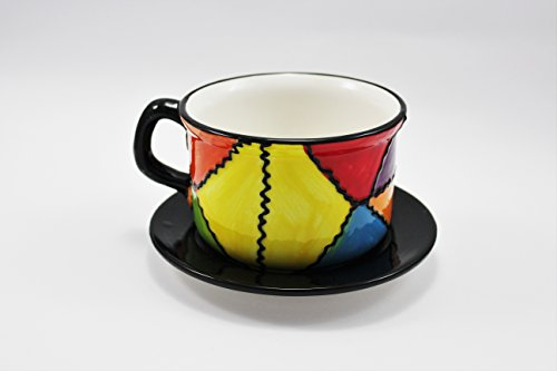 Taza con plato de cerámica para desayuno , pintado a mano .Modelo est