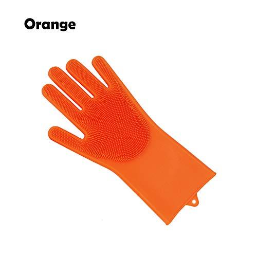 XINJIA Magic Silicone Dishwashing Gloves Dish Wash Scrubbing Schwammhandschuhe mit Borsten Küchenreinigungshandschuhe (Ersatz Elektro-herd, Spule)