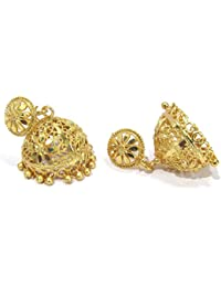 Shree Mauli Creation Golden Alloy Golden Flower Stud Jhumka Earring For Women SMCE387