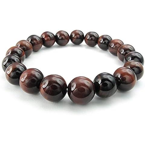 AnaZoz Joyería de Moda Pulsera de Hombre Acero Inoxidable Pulsera de Hombre Ojo de Tigre Natural Energía Piedra Preciosa Perlas Negro Rojo