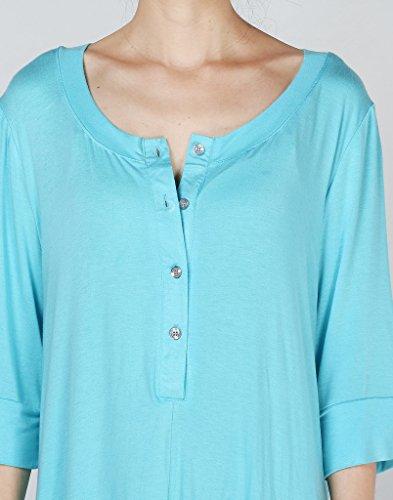 Vogstyle Femme Blouse Ample Manches Longue en Coton ciel bleu