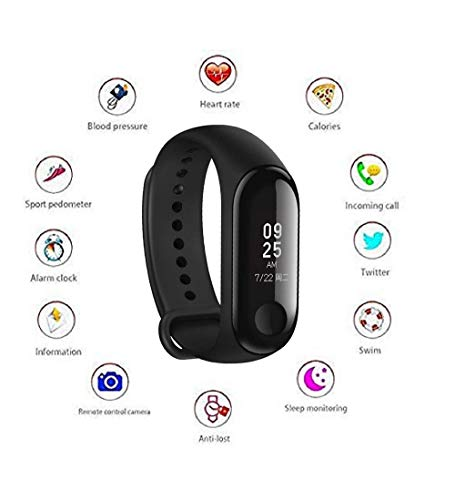 PEony M3 Intelligence Bluetooth Health Wrist Smart Band Watch Monitor/Smart Bracelet/Health Bracelet/Activity Tracker/Smart Fitness Band Compatible for All Androids and iOS Phone/Tablet (Black)