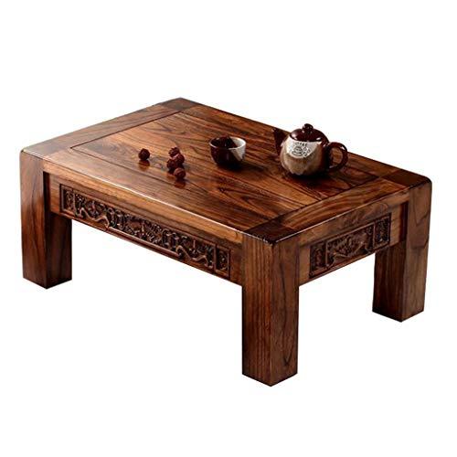 Table antique en bois massif sculpté baie vitrée table tatami japonais table basse balcon moderne petite table Tables basses (Color : Brown, Size : 70 * 45 * 30cm)