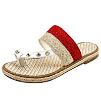 Women Flip Flop Slipper Sandals, Ladies Color Lace up Open Toe Flats Breathable Sandals Shoes