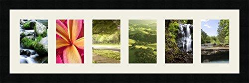 RK Cadres Cadres photos pêle mêle multivues Gris Argent 6 photo(s) 10x15 Passe Partout, Cadre photo mural 72x20 cm Noir, 3 cm de largeur
