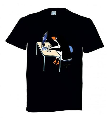 Druckerlebnis24 T-Shirt Linux- Tux- Administrator- Tier- Vogel- Computer- Schreibtisch- Job- BÜRO- Pinguin- Arbeit in Schwarz für Herren- Damen- Kinder - Schreibtisch-job