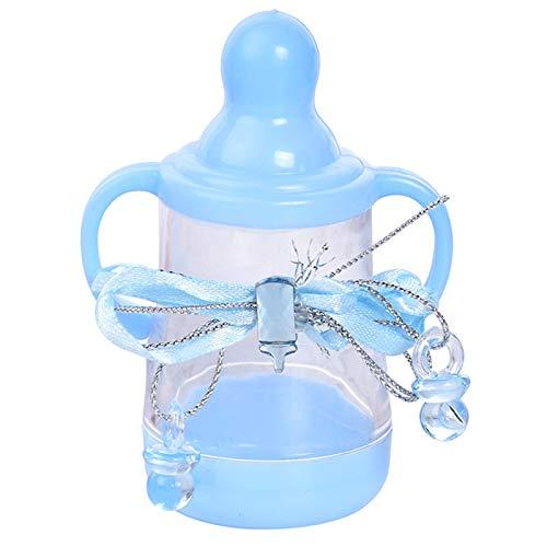 CUHAWUDBA 12 Stücke Baby Dusche Sü?igkeiten Box Flasche M?dchen Jungen Geburtstags Feier Bevorzugungen Weihnachts Geschenk Hochzeit Dekoration Baby Zeigen Blau