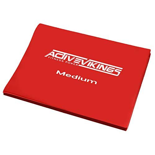 Fitnessband 20meter Rollen in 3 Stärken von ActiveVikings® | Ideal für Muskelaufbau Physiotherapie Pilates Yoga Gymnastik | Fitnessband Gymnastikband Widerstandsband (2m (Rot - Medium))