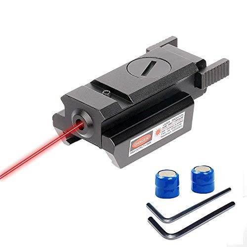 Huntiger Roter Laser-Anblick Rotpunktvisier Laser mit Weaver Picatinny Standard 20mm Schienenhalter für Pistole Gewehr Zielfernrohr über 100 Meter Reichweite in der Nacht