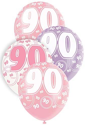 Unique Party Paquete de 6 globos de látex de 90 cumpleaños Color rosa Edad (80921