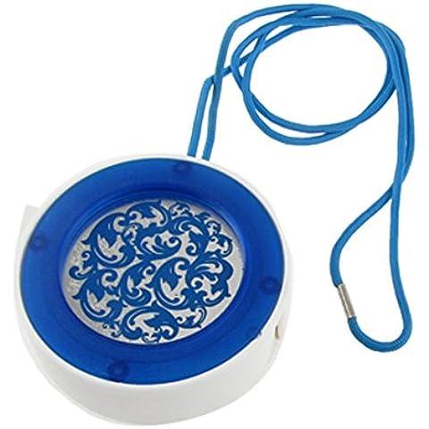 Redondo blanco azul floral de la caja del sostenedor de cigarrillo de ceniza correa de cuello de Cenicero