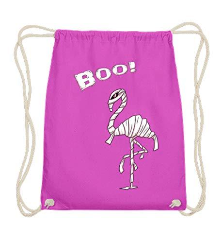 Gothic Kostüm Mumie - Shirtee Boo! Buh! Lustiges Halloween Motiv für Flamingo Liebhaber - Flamungo im Mumien Kostüm - Baumwoll Gymsac -37cm-46cm-Fuchsia