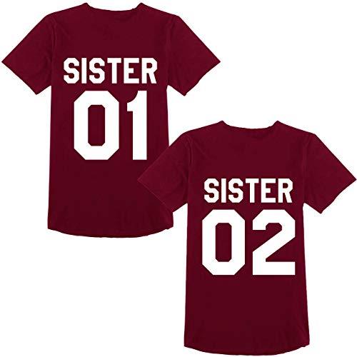 Beste Freunde Best Friends Shirts für Zwei Mädchen Tshirt mit Aufdruck Sister Damen Tops Frau Oberteil Sommer Kurzarm 2 Stücke (Weinrot, Sister-01-S+02-M) -