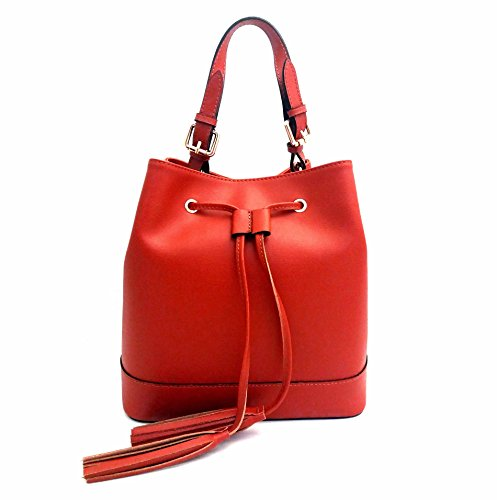 DEEP ROSE Borsa in Vera Pelle Donna Made in Italy a spalla mano shopper pelle SECCHIELLO ANDREA rosso