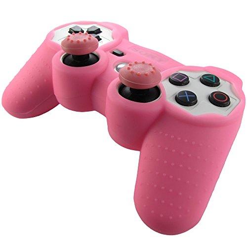 Pandaren Piel silicona para mando de PS3 (rosa) + pulgar thumbstick tapa palo agarre x 2