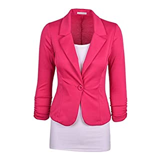 Auliné Collection Women's Casual Work Solid Color Knit Blazer - Pink -
