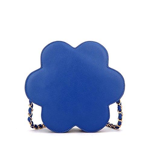 QPALZM Frauen Handtaschen Schulter PU Mode Tasche Quasten Esser Tasche Mini Kette Tasche Blume Weibliche Tasche Persönlichkeit Blue