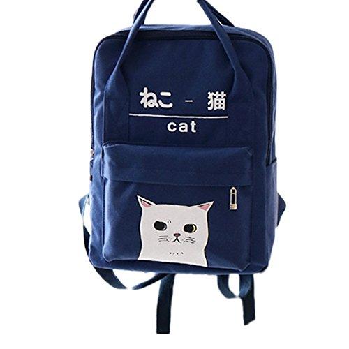 Zaino In Stile Giapponese E Coreano Con Motivo A Gatto Kawaii Per Donna E Ragazza Blu Marino