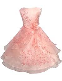 LSERVER- Pizzo Floreale Bowknot del Organza ragazza vestito ricamato con  paillette da ragazza Princess-Abito da… d8107aba377