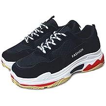 Lovelysi Mujers Chunky Zapatillas de Deportivo Sneakers Running Cordones Zapatos para Correr Malla Patchwork Calzado Atletismo