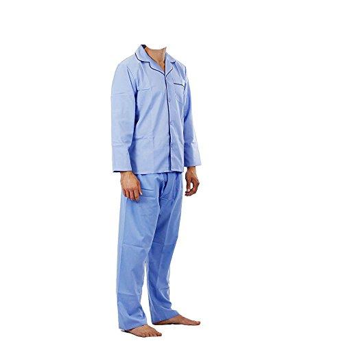 Herren PJ 's Uni Schlafanzug Flanell Schlafanzug Lounge Wear Nachtwäsche Shirt Thermal, Blau - Blassblau, XXXL
