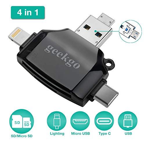 Geekgo SD-Kartenleser für Apple iPhone iPad/Android Handy/MacBook/Computer/Speicherkartenadapter mit Lightning, USB C, Micro USB, USB 4 Schnittstellen, Bild und Video Viewer für Kamera (weiß) (Für Reader Card Memory Ipod)