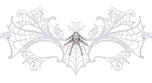 Schmetterlings Augenmaske Esmeralda - Weiß mit Strasselementen - Perfektes Zubehör für Ihr Kostüm als Edelfrau, Elfe oder Fee für Maskenball und Fasching