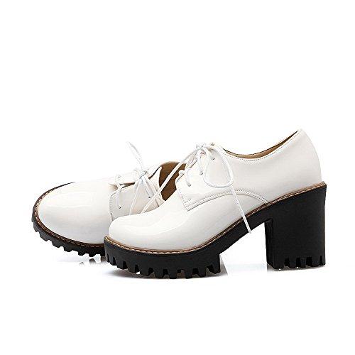VogueZone009 Femme Verni Lacet Rond à Talon Haut Couleur Unie Chaussures Légeres Blanc