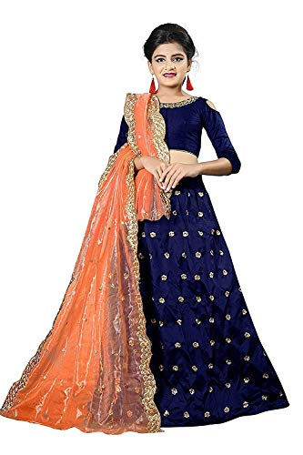 Clothfab Women\'s Pure Cotton Heavy Embroidered Semi-Stitched Lehenga Choli with Dupatta (Blue, Free Size)
