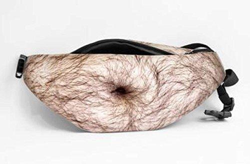 SJLN Dad Bag Fake Belly Pack Hairy Gut Unisex Handy Hip Zipper Packs Beer Belly Bum Bag Con Ajustable,E