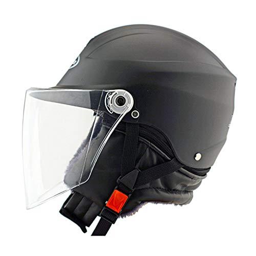 NBJDS Casque électrique de Casque de vélo Unisexe Adulte avec visière à Bouclier magnétique Amovible 57-60cm,Black