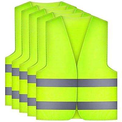 Etmury Warnwesten 5er Set,Warnschutzweste Auto Gelb Waschbar 360 Grad Reflektierende Sicherheitsweste für die Sicherheit von Autofahrern, Fahrern und Arbeitskräften mit Hohem Risiko
