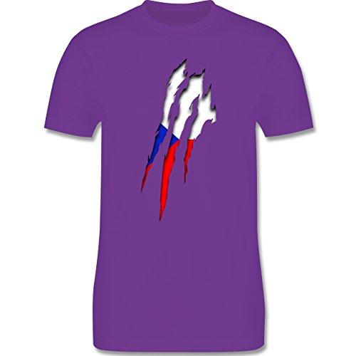 EM 2016 - Frankreich - Tschechien Krallenspuren - Herren Premium T-Shirt Lila