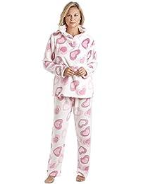 Pyjama en polaire - motif coeurs - blanc et rose