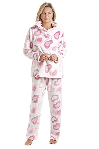 Fleece-schlafanzug (Schlafanzug-Set aus weichem Fleece - Weiß mit rosa Herzmuster 38/40)