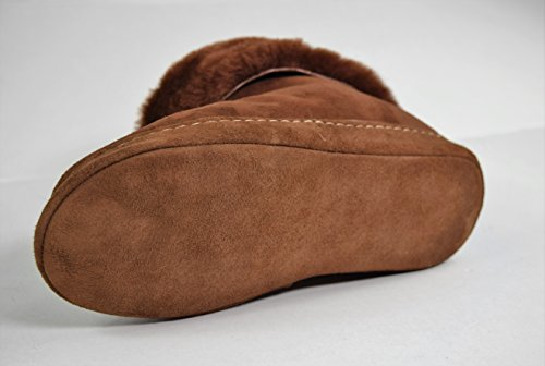 Lammfell-Hüttenschuhe Damen Hausschuhe / Mokassin mit Ledersohle und Stulpe, Modell HS-06 Braun