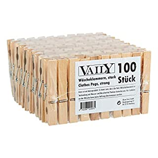 Pack of 100 wooden clothes pegs (2 x pack of 50)