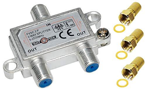 Sat-Fox 2-Fach Verteiler/Splitter Sat Kabel TV Breitbandig HDTV analog digital tauglich