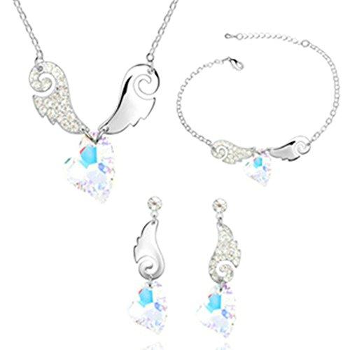 Aooaz Femmes Alliage Bijoux Parures Aile Boucles d'oreilles Bracelet Collier Mariage Coloré Blanc