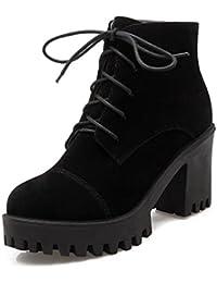SHOWHOW Damen Nieten Martin Boots Kurzschaft Stiefel Mit Absatz Schwarz 34 EU