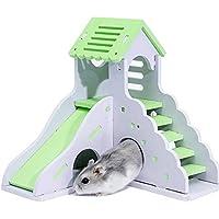 Su-luoyu 16.7 * 16.5 * 16cm Tablero ecológico Casa Hamster Mascota durmiendo Casa Coloreada de Dos Pisos Jaula de hámster Jugando y durmiendo Adecuado para Animales pequeños
