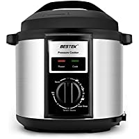 BESTEK Mechanical Electric Pressure Cooker Rotary Control Knob, 6 Litre, 1000 W - Stainless Steel/Black
