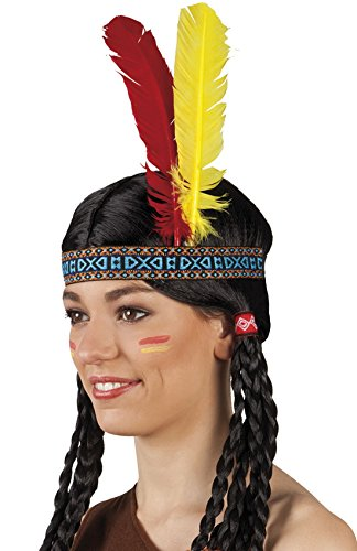 erdbeerclown - Haarband Feder geflochten Indianer Kopfschmuck, Mehrfarbig