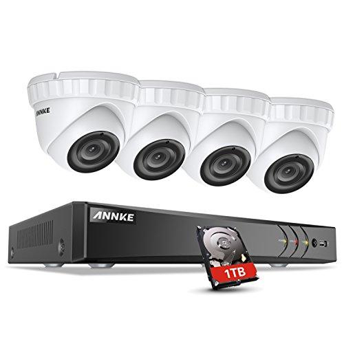 ANNKE 8CH 3.0MP Kit de Surveillance HD avec Boîtier en Métal des 4 Caméras de 3MP, H.264+ DVR et Caméra Extérieure IP66 à Réseau DEL Infrarouge Résistant au Climat,Disque Dur de 1TO Inclus Nouveauté Prime Day